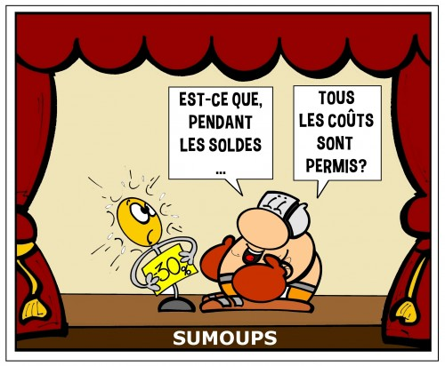 sumoups, bd, humour, bulle, soldes,