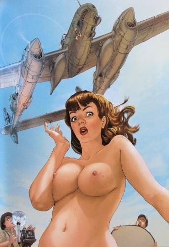 pin up,femme,sexy,hugault,avion
