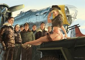 pin up,femme,sexy,hugault,avion,b17