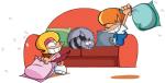 les p'tits diables,dutto,bekaert,soleil,032014,0710,jeunesse,humour,tom,nina,grippy,chat,angouleme,journal de mickey,soeur,frere,fratrie,famille,dessin animé