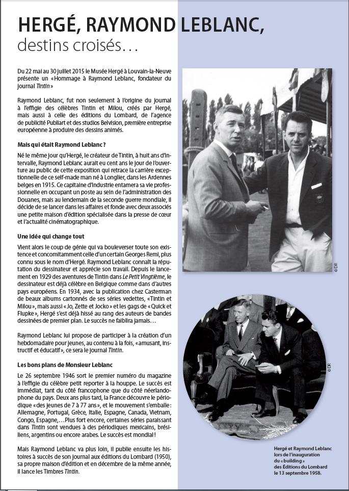 Raymond Leblanc, Le Lombard, Tintin, Hergé, Louvain La Neuve, Musée, 05/2015
