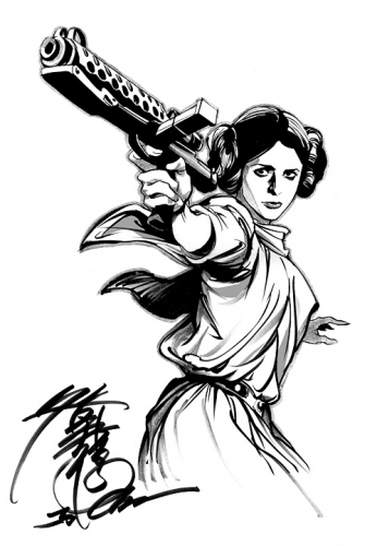 pin up,star wars,princesse leia,carrie fisher,hommage