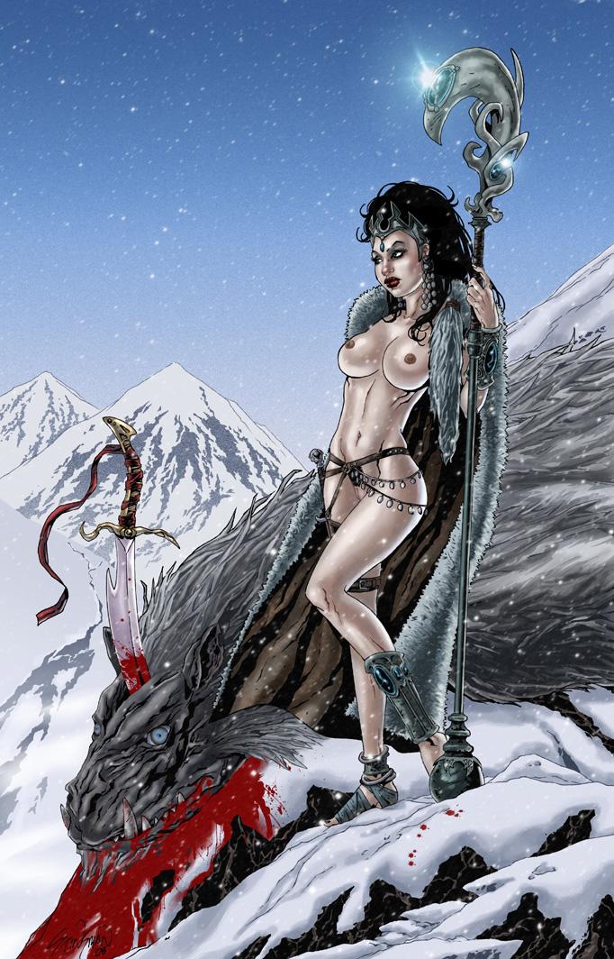 warrior_priestess_____bare___by_john_stinsman