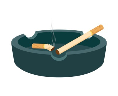 Vector ashtray with cigarettes, smoked butt, stub. Cartoon flat illustration with smoking product, bad habit.