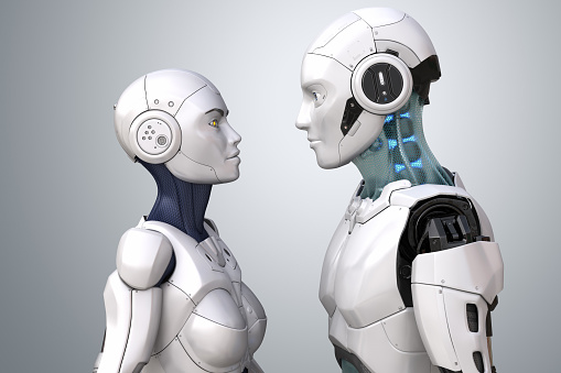 Female and male robots. 3D illustration